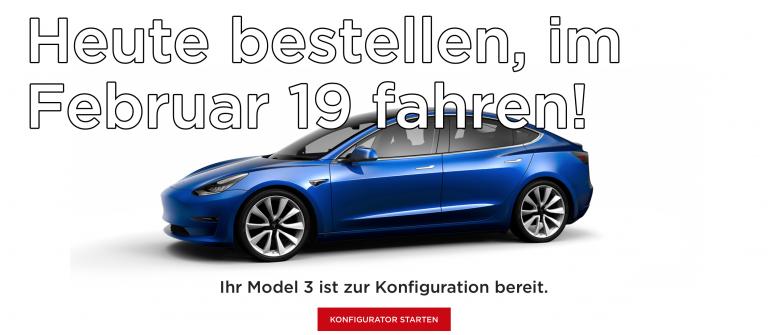 Bis Neujahrstag das Model 3 bestellen und im Februar damit fahren